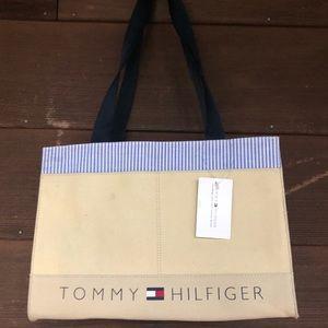 Tommy Hilfiger Canvas Khaki Tote Flag Light Blue